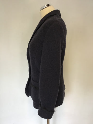 MARCCAIN DARK BLUE WOOL BLEND KNIT JACKET SIZE N5 UK 16