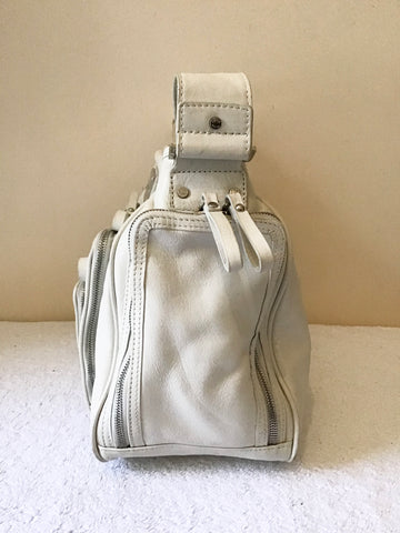 KAREN MILLEN IVORY LEATHER SHOULDER BAG WITH ZIP POCKETS