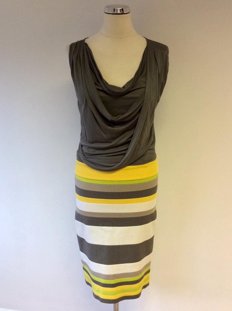46fbf57ccfe KAREN MILLEN KHAKI DRAPED TOP WITH STRIPED SKIRT SIZE 3 UK 12 ...