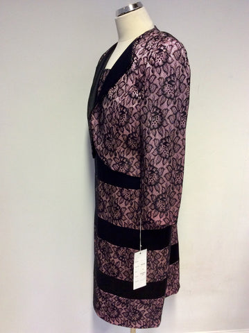 BRAND NEW DRESS CODE BY VEROMIA PINK & BLACK LACE DRESS & JACKET SUIT SIZE 18