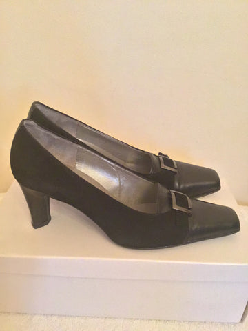 BRAND NEW GABOR BLACK SUEDE & LEATHER HEELS SIZE 6/39