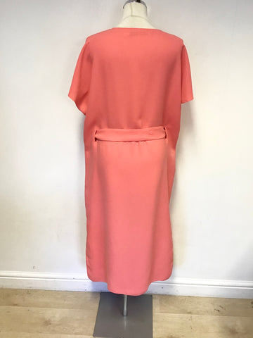 & OTHER STORIES CORAL SHORT SLEEVE TIE WAIST MIDI DRESS SIZE 12