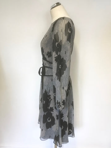 ALICE BY TEMPERLEY BLACK & GREY PRINT SILK LONG SLEEVE OCCASION DRESS SIZE 12