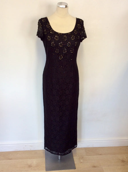 DEBUT BLACK LACE BEADED TRIM CAP SLEEVE LONG EVENING DRESS SIZE 12