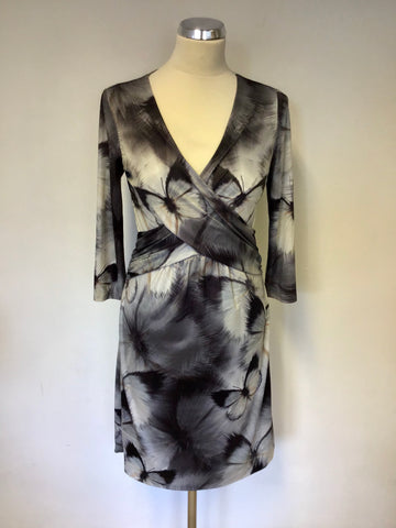 TED BAKER GREY BUTTERFLY PRINT 3/4 SLEEVE DRESS SIZE 2 UK 10/12