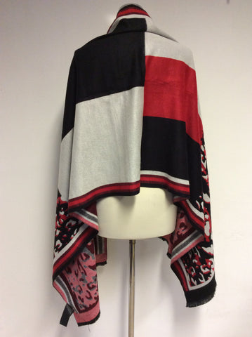 KAREN MILLEN RED,GREY & BLACK WRAP/ SHAWL