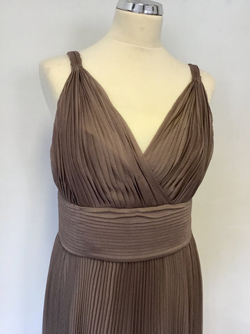 COAST TAUPE PLEATED GRECIAN STYLE LONG EVENING DRESS SIZE 14