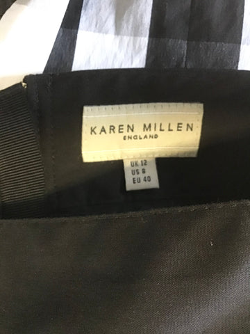 KAREN MILLEN BLACK & WHITE CHECK TIERED PLEAT PENCIL SKIRT SIZE 12