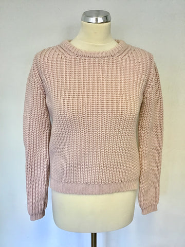 BRAND NEW YAYA WOMEN BLUSH PINK COTTON CHUNKY KNIT JUMPER SIZE S