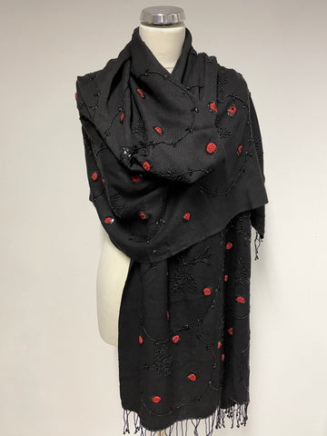 UNBRANDED BLACK WOOL WITH RED ROSE BEADED EMBELISHMENT LARGE SHAWL/WRAP