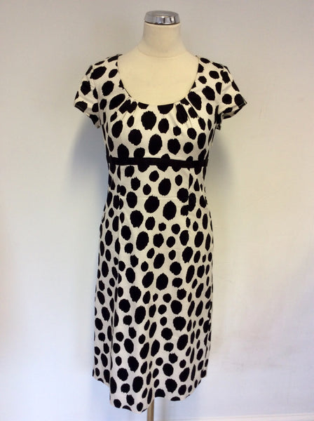 BODEN BLACK & CREAM PRINT SCOOP NECK COTTON DRESS SIZE 10L
