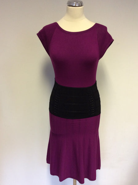 KAREN MILLEN CRANBERRY PINK & BLACK WAIST TRIM FINE KNIT DRESS SIZE 1 UK 8/10
