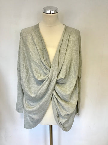 ALL SAINTS LIGHT GREY OVERSIZE DRAPED FRONT COTTON JUMPER SIZE S