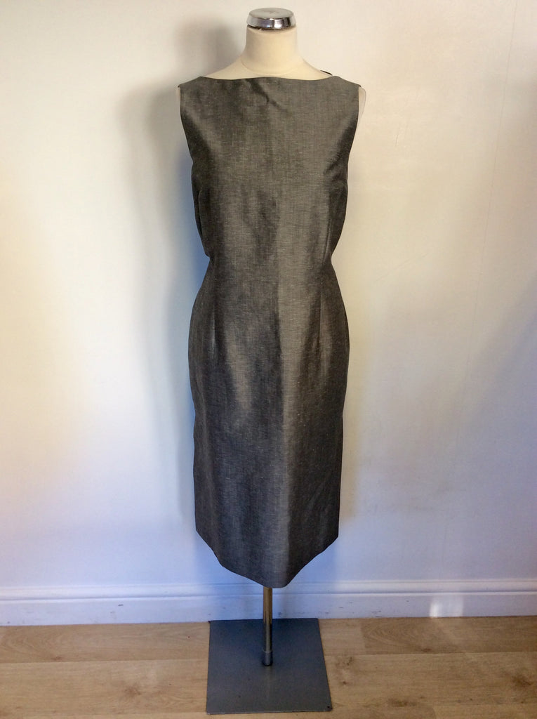 Austin Reed Grey Silk Linen Pencil Dress Size 16 Whispers Dress Agency
