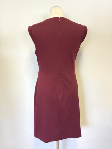 MICHELLE KEEGAN FOR LIPSY BURGUNDY WRAP STYLE PENCIL DRESS SIZE 14