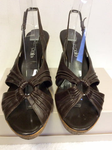 MODA IN PELLE DARK BROWN LEATHER HEELED SANDALS SIZE 7/40