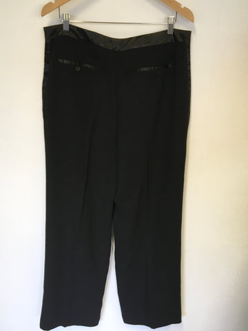BRAND NEW PURE COLLECTION BLACK WIDE LEG SATIN TRIM TUX TROUSERS SIZE 18
