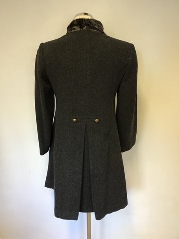 ALL SAINTS DARK GREY MILITARY STYLE WOOL BLEND COAT SIZE S