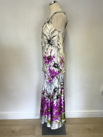CHESCA WHITE,PINK & GREEN FLORAL PRINT SILK TOP & LONG SKIRT SIZE 12