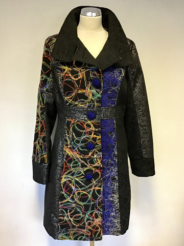 101 IDEES BLACK & MULTI COLOURED DESIGN KNEE LENGTH COAT SIZE L