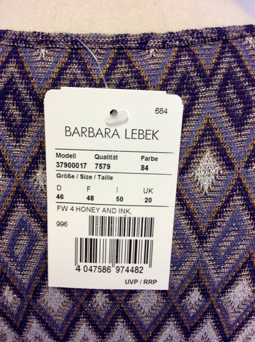 BRAND NEW BARBARA LEBEK HONEY & INK PRINT FINE KNIT DRESS SIZE 20