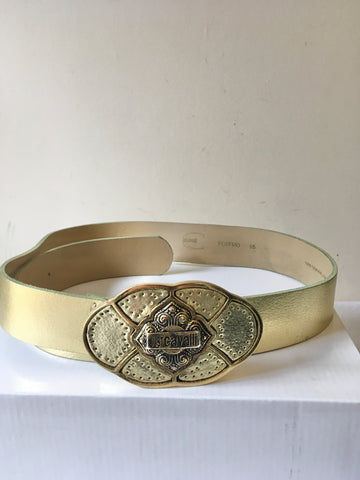 JUST CAVALLI PALE GOLD LEATHER 1.5 INCH WIDE BELT SIZE 34-36 INCHES