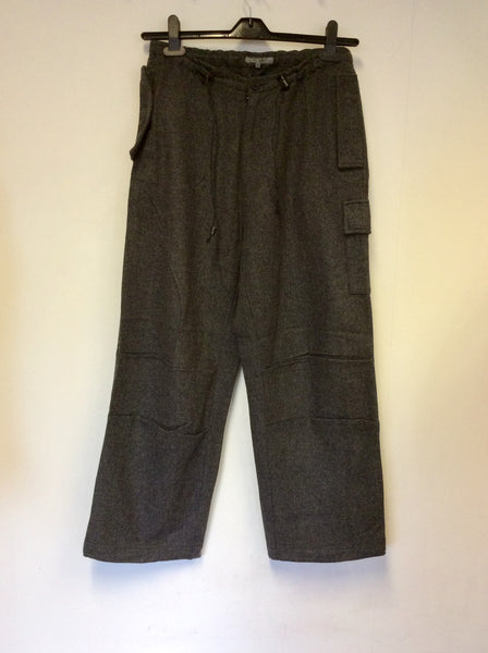 ALL SAINTS GREY WOOL BLEND CARGO TROUSERS SIZE S