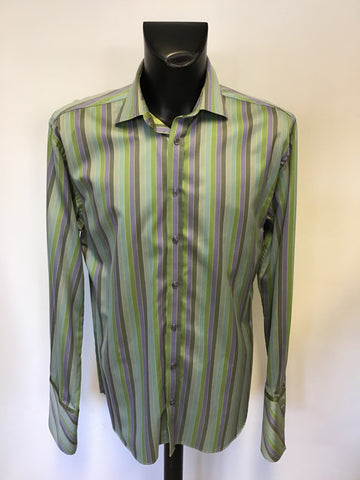 TED BAKER GREEN & PURPLE STRIPE COTTON SHIRT SIZE 17""