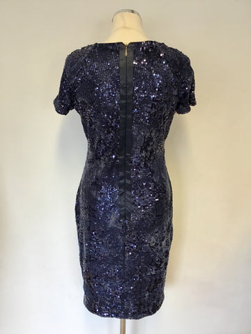 BRAND NEW DAMSEL IN A DRESS NAVY BLUE SEQUINNED & CHENILE PRINT PENCIL DRESS SIZE 12