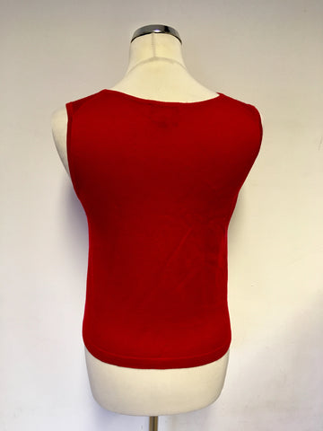 HOBBS RED PURE WOOL FINE KNIT SLEEVELESS JUMPER SIZE 10