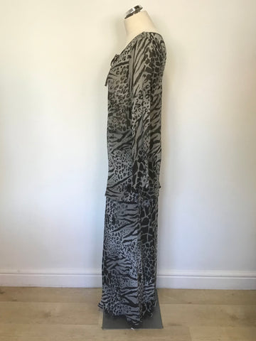 ANN HARVEY GREY ANIMAL PRINT LONG SLEEVE TOP & MATCHING LONG SKIRT SIZE 16/18