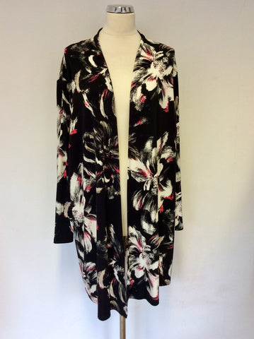 BRAND NEW COLEBROOKE BY WINDSOR BLACK & MULTI COLOURED PRINT CARDIGAN/JACKET SIZE XL
