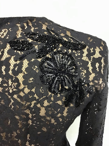 FRENCH CONNECTION BLACK LACE BEADED SPECIAL OCCASION DRESS SIZE 8