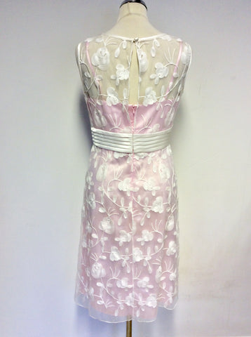 BRAND NEW DRESS CODE BY VEROMIA PINK LINED & SHEER WHITE EMBROIDERED OVERLAY DRESS & SHEER DUSTER COAT SIZE 18