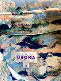 BRORA MULTI COLOURED PRINT SILK LONG SLEEVE BLOUSE SIZE 10