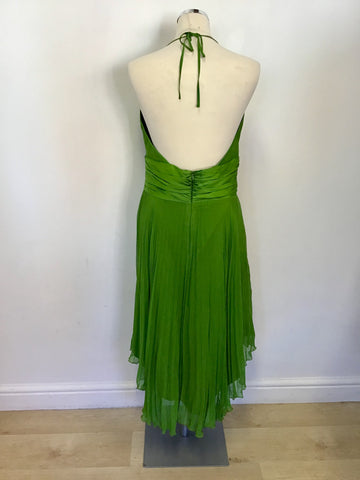 LAUNDRY BY SHELLI SEGAL GREEN SILK PLEATED SPECIAL OCCASION DRESS SIZE 12