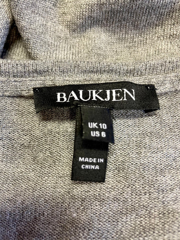 BAUKJEN GREY & BLACK SPOT V NECK JUMPER SIZE 10