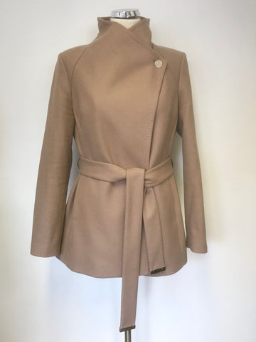 TED BAKER CARAMEL WOOL & CASHMERE BLEND ELETHEA TIE WAIST SHORT COAT SIZE 3 UK 12/14