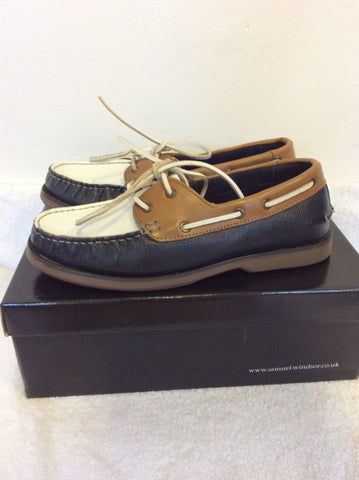 BRAND NEW SAMUEL WINDSOR NAVY BLUE,TAN & WHITE LEATHER DECK SHOES SIZE 8/42