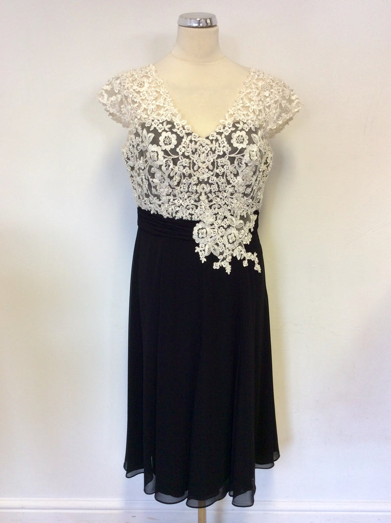 ac393a0244c8 JACQUES VERT BLACK & BEADED IVORY LACE SPECIAL OCCASION DRESS SIZE ...