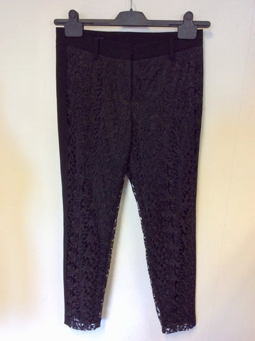 LAUREL BLACK LACE CAPRI PANT TROUSERS SIZE 8
