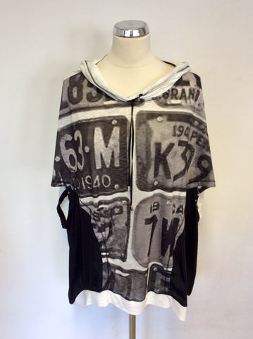 BRAND NEW MAT BLACK & WHITE PRINT HOODED TOP SIZE S/M PLUS SIZE