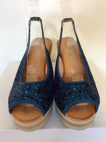 SPANISH SANDALS BLUE GLITTER PEEPTOE WEDGE HEELS SIZE 6/39