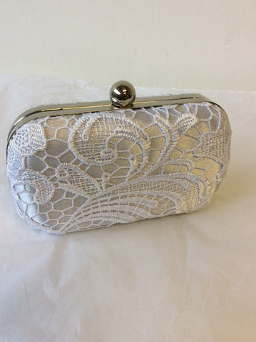 BRAND NEW FASHION ONLY SILVER & WHITE LACE HARD CASE SMALL CLUTCH/ SHOULDER BAG