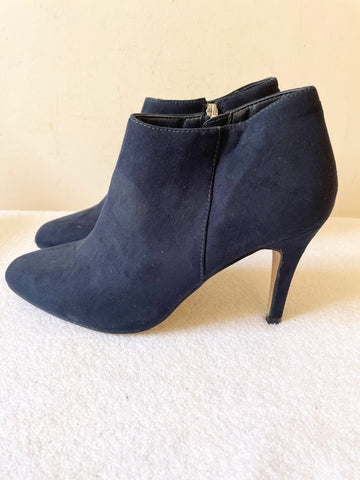 BRAND NEW CARVELA NAVY BLUE FAUX SUEDE ZIP FASTEN ANKLE BOOTS SIZE 5/38