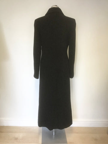 AUSTIN REED BLACK VIRGIN WOOl & CASHMERE BEND FULL LENGTH COAT SIZE 10