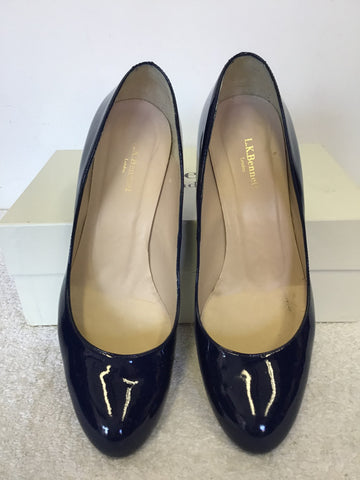 LK BENNETT OPAL NAVY PATENT LEATHER HEELS SIZE 5.5/38.5 & BRAND NEW MATCHING BAG
