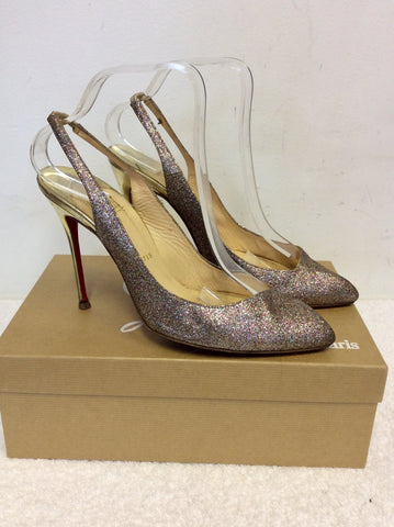 CHRISTIAN LOUBOUTIN MULTI COLOURED GLITTER SLINGBACK HEELS SIZE 7/40