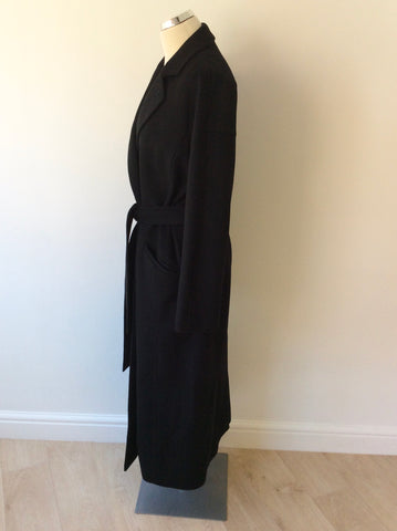 JAEGER BLACK WOOL FULL LENGTH BELTED TIE WAIST COAT SIZE 12