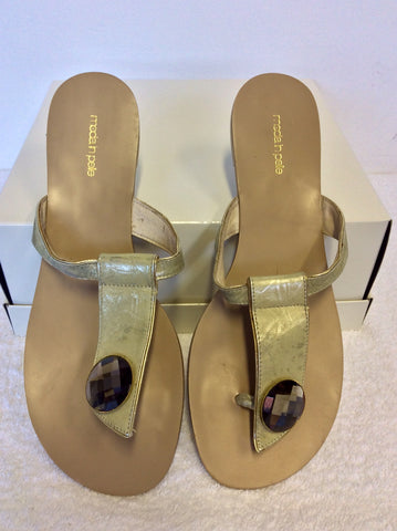 MODA IN PELLE PALE GOLD JEWEL TRIM LEATHER TOE POST FLIP FLOPS SIZE 7/40